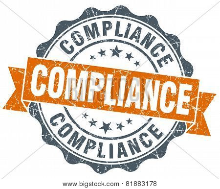 Compliance Orange Vintage Seal Isolated On White