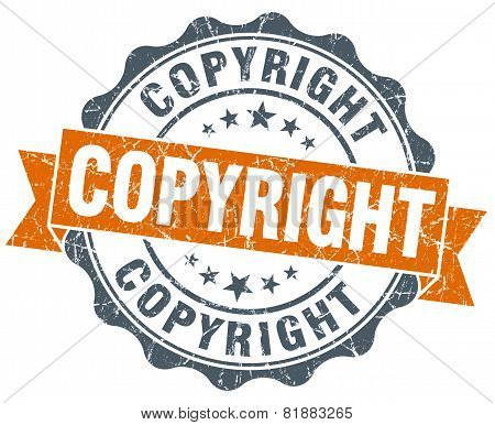 Copyright Orange Vintage Seal Isolated On White
