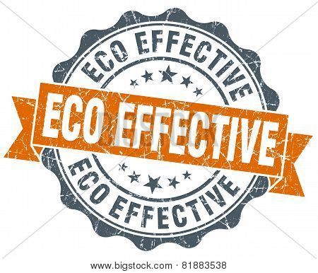 Eco Effective Orange Vintage Seal Isolated On White