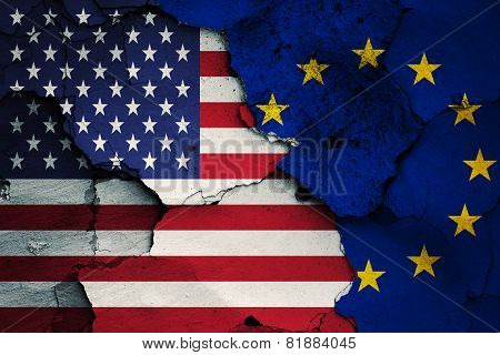 Flag Of Usa And Eu Painted On Cracked Wall