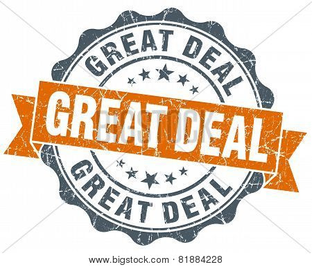Great Deal Orange Vintage Seal Isolated On White
