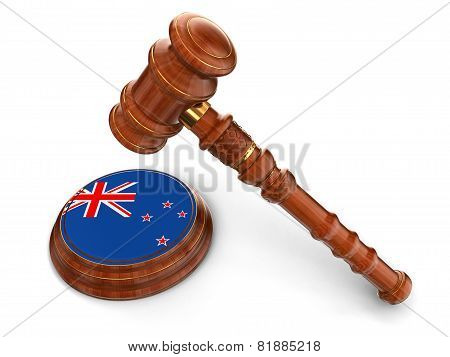 Wooden Mallet and New Zealand flag (clipping path included)