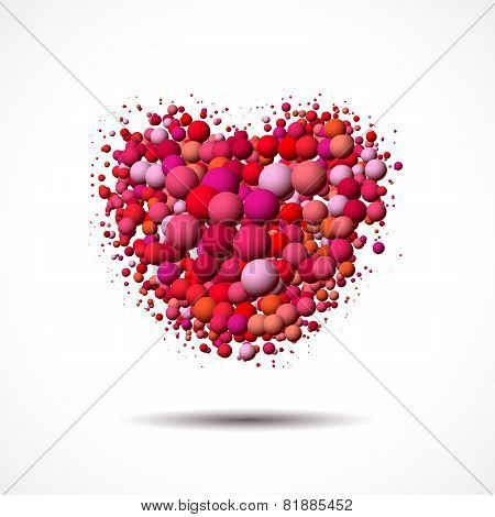 Valentine's Day card with heart made of scattered bubbles