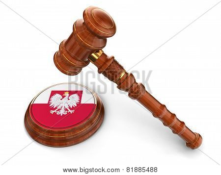 Wooden Mallet and Polish flag (clipping path included)