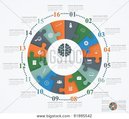 Parts Puzzles In The Form Of A Circle Of The 16 Pieces. Template Design Infographic Banner, Presenta