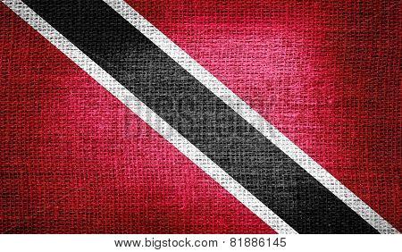 Trinidad and Tobago flag on burlap fabric