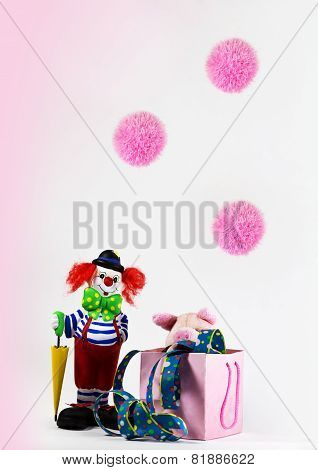 Clown with lucky pig
