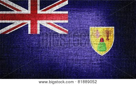 Turks and Caicos Islands flag on burlap fabric