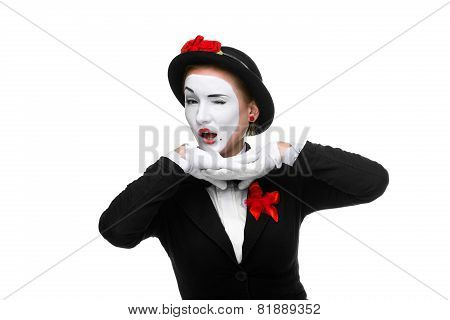 Portrait of the surprised mime with a grimace on her face