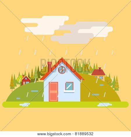 Seasons Change Spring Village Hills Field Landscape Icon Website Greeting Card Flat Design Vector Il