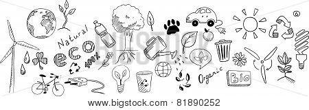 Eco drawing vector set