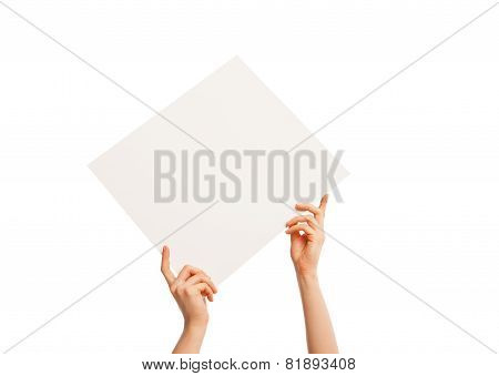 in hand blank sheet of white paper held diagonally