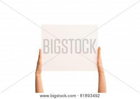 Isolated hands holding paper fingers straight