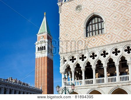 Campanile Bell Tower And Architecture Detail Of Doges Palace