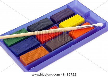 Water kleur verf en penseel