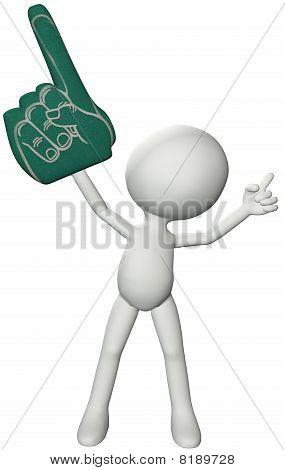Fan 3D Person Holds Number 1 Foam Finger