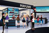 stock photo of department store  - A vector illustration of shoppers shopping for cosmetic in a department store - JPG