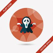 image of reaper  - Grim Reaper Flat Icon With Long Shadow - JPG