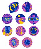 pic of seer  - Ten symbols showing different methods of clairvoyant psychic fortune telling in purple - JPG