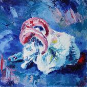 image of ram  - white ram with pink horns oil painting - JPG