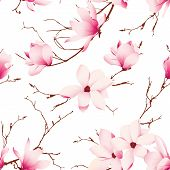 foto of japanese magnolia  - Fragile magnolia flowers seamless vector pattern - JPG