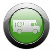 stock photo of food truck  - Icon Button Pictogram with Food Truck symbol - JPG