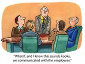 stock photo of leader  - Cartoon of business leader saying to businessmen - JPG