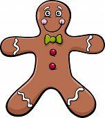 stock photo of gingerbread man  - Cartoon Illustration of Gingerbread Man Cookie Clip Art - JPG