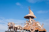 foto of hindu  - A statue of the Hindu god Krishna and his devotee Arjuna at Rishikesh - JPG