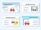 picture of car wash  - Set of four business cards suitable for car washing and cleaning services - JPG
