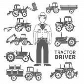 stock photo of truck farm  - Tractor driver and farm machines decorative icons black set isolated vector illustration - JPG