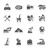 picture of earth-mover  - Mining icons black set with hammer helmet lamp earth mover isolated vector illustration - JPG