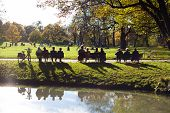 foto of bench  - people in the park - JPG