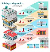 pic of school building  - Buildings infographics set with charts and isometric hospital fire station school vector illustration - JPG