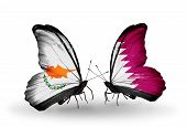 picture of qatar  - Two butterflies with flags on wings as symbol of relations Cyprus and Qatar - JPG