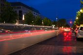 stock photo of limousine  - The trace of a passing limousine in the street of Berlin Germany - JPG