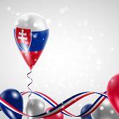 foto of balloon  - Slovak flag on balloon - JPG