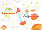 Постер, плакат: Children Drawing Space Planet Rocket