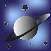 stock photo of saturn  - Saturn planet and stars inn the blue sky - JPG