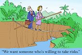 picture of leader  - Cartoon of business leader and job candidate walking on a tightrope - JPG