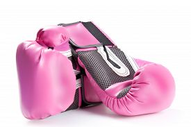stock photo of knockout  - Pink Boxing Gloves Isolated On White background - JPG