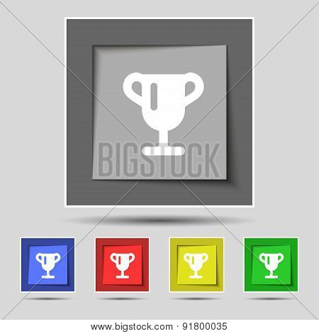 Winner Cup, Awarding Of Winners, Trophy Icon Sign On The Original Five Colored Buttons. Vector