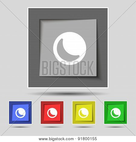 Moon Icon Sign On The Original Five Colored Buttons. Vector