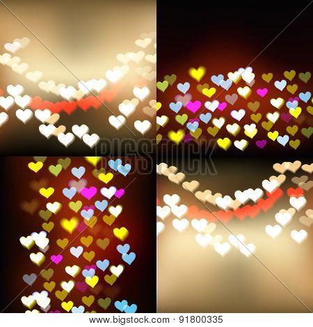 Defocused lights background with hearts set
