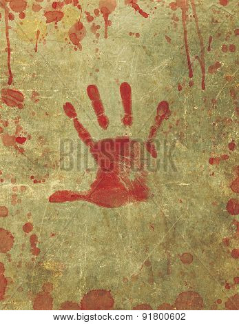 Bloody Hand Print Blood Splattered Background