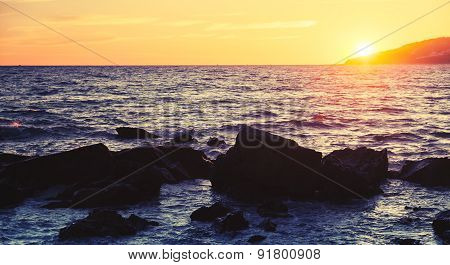 Sunset On The Atlantic Ocean Coast In Morocco