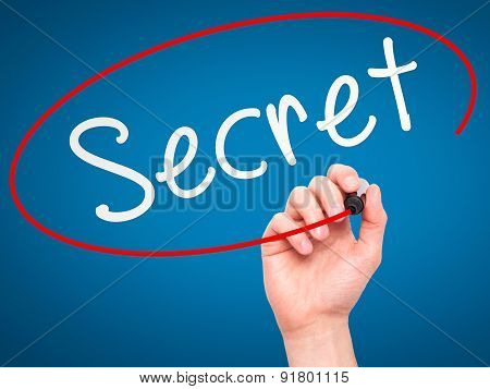 Man Hand writing Secret black marker on visual screen.