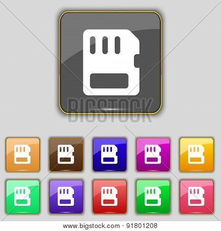 Compact Memory Card Icon Sign. Set With Eleven Colored Buttons For Your Site. Vector