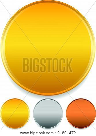 Gold, Silver And Bronze Badges, Starburst Shapes. Price Flashes.