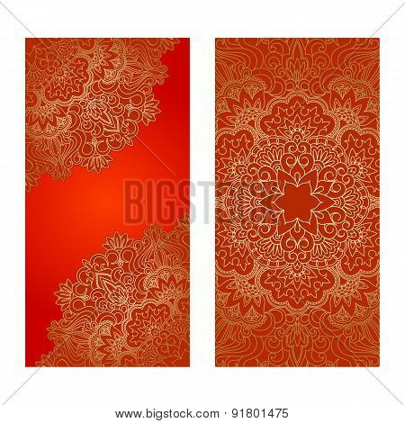 Vector Set Of Floral Decorative Background.